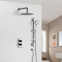 Concealed Thermostatic Shower Mixer with hand held Adjustable Rail and Rainfall Shower Head