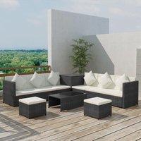 Connolly 8 Seater Rattan Corner Sofa Set by Dakota Fields - Black
