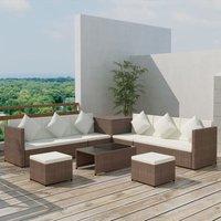 Connolly 8 Seater Rattan Corner Sofa Set by Dakota Fields - Brown