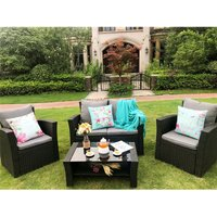 Rosen Conservatory 4 Piece Rattan Black Sofa Garden Furniture Patio Set Table Chairs