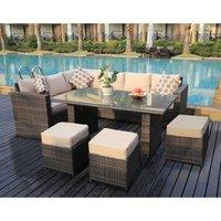 Yakoe - Conservatory Barcelona range Rattan Brown garden furniture set 9 seater dining set