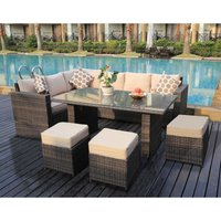 Yakoe - Conservatory Barcelona range Rattan Brown garden furniture set 9 seater dining set with rain cover