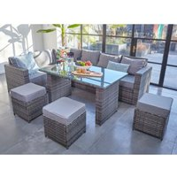 2019 NEW Barcelona Rattan garden furniture 9 seater Dining Corner sofa set Grey with Fitting Cover