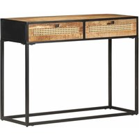 Youthup - Console Table 100x35x75 cm Rough Mango Wood and Natural Cane