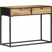 Console Table 100x35x75 cm Rough Mango Wood and Natural Cane - Brown - Vidaxl