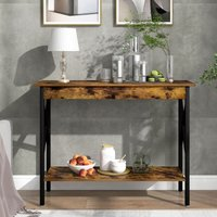Console Table, 2-Tier Industrial Design Sofa Table ,Strong Legs ,100x35x75 cm,Dark Brown