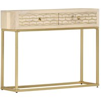 Console Table Gold 90x30x75 cm Solid Mango Wood