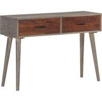 Console Table Grey 110x35x75 cm Solid Rough Mango Wood