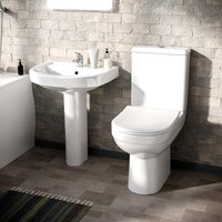 Contract 2 Piece Toilet and Full Pedestal Basin Bathroom Suite Inc Tap and Waste