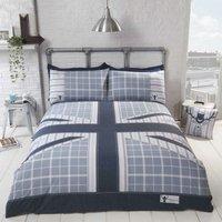 Cool Britannia Union Jack Check and Stripe Duvet Cover Bedding Set (Demin Blue, King)