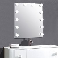 Livingandhome - Cool White Dimmable Hollywood Makeup Mirror with 12 LED Lights