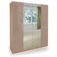 Coral Gloss Quality Bedroom Double Mirror Wardrobe - Oak Frame High Gloss Mocha Doors - NETFURNITURE