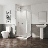 GB 5 Bifold Door Shower Enclosure Side Panel 800 x 800mm Easy Clean Glass - Coram