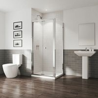 GB 5 Bifold Door Shower Enclosure Side Panel 900 x 900mm Easy Clean Glass - Coram