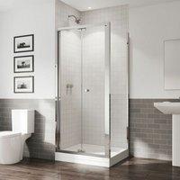 GB 5 Bifold Shower Door Side Panel Enclosure 900x900mm 5mm Glass Tray - Coram