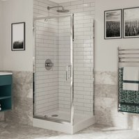 Optima 6 Pivot Shower Door Side Panel Enclosure 900 x 900 Tray 6mm Glass - Coram