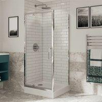 Optima 6 Pivot Shower Door Side Panel Enclosure 900 x 900mm 6mm Glass - Coram