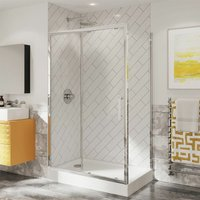Optima 6 Shower Enclosure Sliding Door Side Panel 1000 x 800mm 6mm Glass - Coram