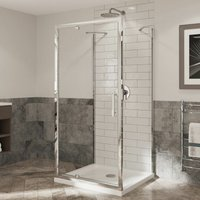 Coram Optima 900mm Shower Cubicle 3 Sided Enclosure Pivot Safety Glass Chrome