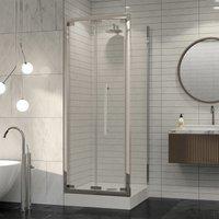 Premier 8 Bifold Shower Door Side Panel Enclosure 900 x 900 Tray 8mm Glass - Coram