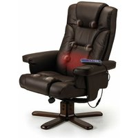Corinne Faux Leather Recliner Massage Chair and Stool Brown