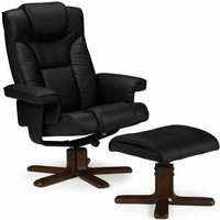 Faux Leather Swivel Recliner Chair and Stool Black - Corinne