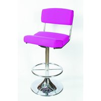 Corlan Quality Retro Kitchen Breakfast Bar Stool Chrome With Footrest And Backrest Fully Assembled Red