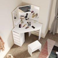 Corner Dressing Table Set with Mirror 5 Drawers Bedroom Makeup Desk White