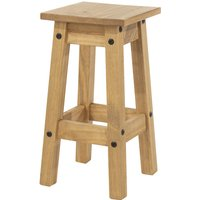 Pair of Stools Corona Antique Waxed Pine Low Kitchen Stool