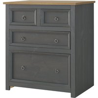 Corona Carbon Grey Washed and Antique Waxed Pine 2+2 Drawer Chest - CORE PRODUCTS