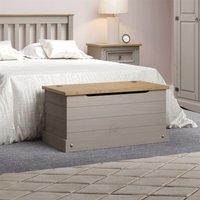 Grey Ottoman Storage Wood Chest Toy Chest Bedding Pine Blanket Box - Corona