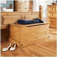 Solid Pine Ottoman Single Bedding Box Toy Chest Traditional Mexican Style - Corona
