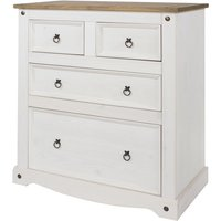 Corona White Washed and Waxed Effect Pine 2+2 Drawer Chest - CORE PRODUCTS