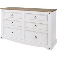 Corona White Washed and Waxed Effect Pine 3+3 Drawer Wide Chest