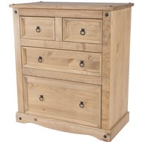 Cortan 2+2 drawer chest Brown pine - NETFURNITURE