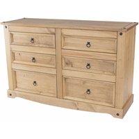 Netfurniture - Cortan 3+3 drawer wide chest Brown pine