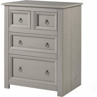 Netfurniture - Cortini 2+2 drawer chest with glass top Grey pine