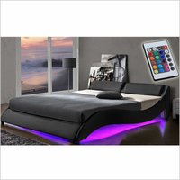 Cherry Tree Furniture CORVUS Black PU Leather Bed Frame with Underbed LED (Black, 4FT6 Double)