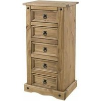 Netfurniture - Cory Pine Chest - Narrow - 5 Drawers