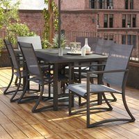 COSCO Capitol Hill Patio Dining 7 Piece Set Steel Charcoal Light Grey Sling