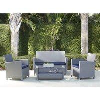 COSCO Malmo 4 Piece Resin Wicker Rattan Outdoor Garden Set Grey - Navy Cushions