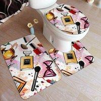 Briday - Cosmetic Doormat Makeup Pattern Perfume Lipstick Modern 3 Pieces Bathroom Mats Sets Soft Contour Mats Lid Lid Bath Mat Set Rugs