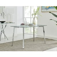 Cosmo Chrome Metal And Glass Dining Table