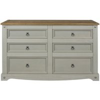 Netfurniture - Coson Grey Pine 3+3 Wide Chest Of Drawers