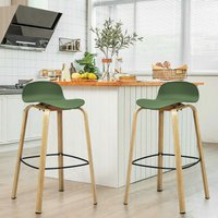 2PCS Bar Chair Set, Modern Breakfast Stool Seats with Footrest and Backrest, Counter Height Chairs for Home Kitchen Dining Room - Costway