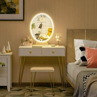 Dressing Table Set, Industrial Cosmetics Dresser with Detachable LED Mirror and Makeup Box, Home Furniture Bedroom Makeup Vanity Table Stool Set