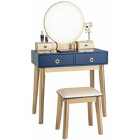 Dressing Table Set with LED Lights and Mirror, Detachable Makeup Dresser Table Stool, Home Bedroom Vanity Cosmetic Furniture Gifts for Girls Women