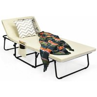 Folding Lounge Chair Convertible Spong Sofa Bed Sleeper 6 Position Adjustable - Costway