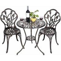 COSTWAY Table et 2 chaises de jardin salon de jardin en aluminium coulé style antique
