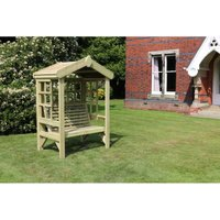 Cottage Arbour- Trellis Back And Sides - Sits 2, wooden garden bench seat with trellis - CHURNET VALLEY